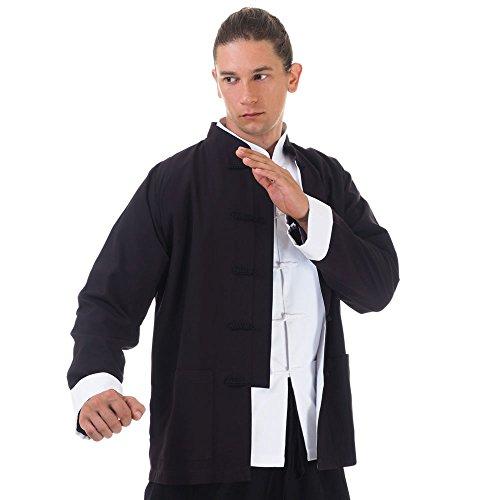 Asia China Kung-Fu Tai-Chi & Meditations Jacke T-Shirt Baumwolle (XL, Schwarz)