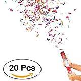 Lote de 20 Cañones Confeti 40 Cm - DISOK - Lanza Confetis Ideal para Fiestas, Bodas y Celebraciones