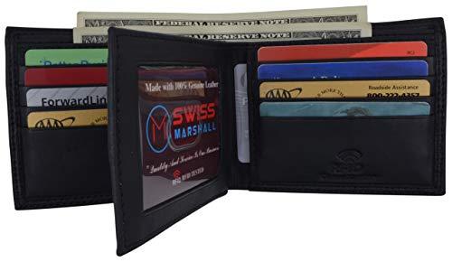 Men's RFID Blocking Premium Leather Bifold Multi-Card Compact Center Flip Wallet by Swiss Marshall (Black)