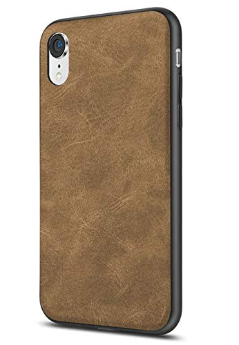 SALAWAT Compatible with iPhone Xr Case, Slim PU Leather Vintage Shockproof Phone Case Cover Lightweight Premium Soft TPU Bumper Hard PC Hybrid Protective Case for iPhone Xr 6.1inch 2018 (Light Brown)