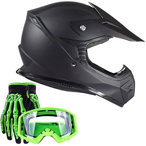Typhoon Youth Kids Offroad Helmet Gloves Goggles GEAR COMBO Motocross ATV Dirt Bike Motorcycle Green Matte Black L Large