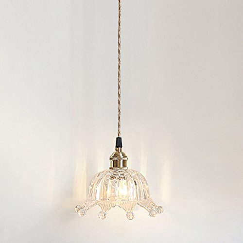 CHUANGJIE eenvoudige retro plafondlamp antieke decoratieve hanglamp messing glas hanglamp verstelbare eettafellamp ganglamp balkon restaurant 1 * E27 Ø15 * H 17 cm