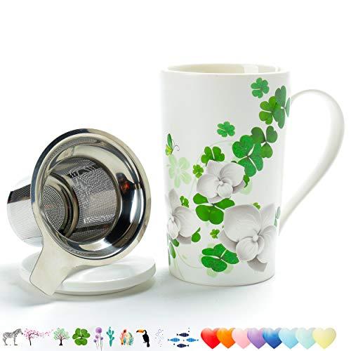 TEA SONG Tasse à thé (530ML) avec infuseur et Couvercle, Set à thé de Voyage avec Filtre (trèfle Porte-Bonheur), Tasse Steeper Maker, Passoire de Brassage pour Feuilles Mobiles