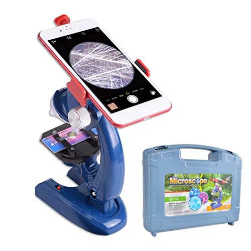 ALEENFOON Juego de microscopio de ciencia para niños, 1200 x 400 x 100 aumentos, kit de microscopio para niños con luces LED, incluye soporte para teléfono, caja de herramientas de plástico