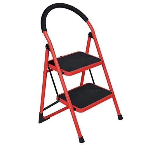 S-D Folding Step Ladder, Home Portable Lightweight Wide Pedal Steel Ladder Step Stool Kitchen, Garden, Office, Garage (2 Step, Red)
