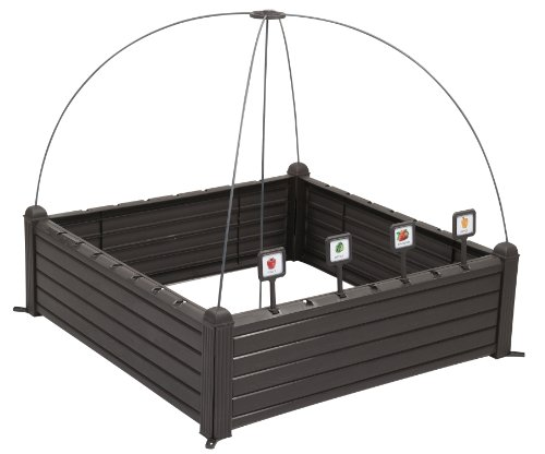 Keter - Mini huerto en casa Raised Garden Ben con marcadores, Color marrón