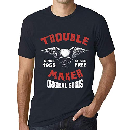 One in the City Hombre Camiseta Vintage T-Shirt Trouble Maker 1955 Cumpleaños de 66 años Marine