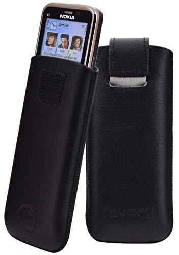 Original Favory Etui Tasche für / Nokia C5 / Leder Etui Handytasche Ledertasche Schutzhülle Hülle Hülle *Speziell - Lasche mit Rückzugfunktion* in schwarz