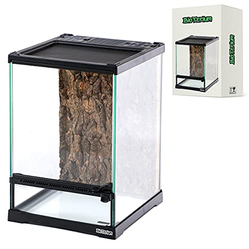 BioTerium Reptile Tank | 8x8x12 Inch Glass Tank for Reptiles | with Cork Bark Background | Ideal to Use As Lizard Tank, Snake Cage, and Gecko Enclosure Kit