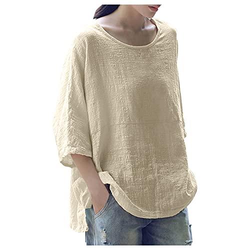 Camiseta informal para mujer de algodón y lino con estampado de flores, cuello en V, monocolor, manga larga, suéter, blusa, manga larga, sudadera, talla grande, suelta. S09-beige M