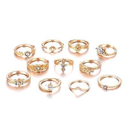 Denluns 11 Stück Ringe gesetzte Vintage Knuckle Ringe Acryl reflektierendes Material Hohl Geschnitzte Blumen Stapelbare Ringe Sets Schmuck Geschenk für Frauen Mädchen