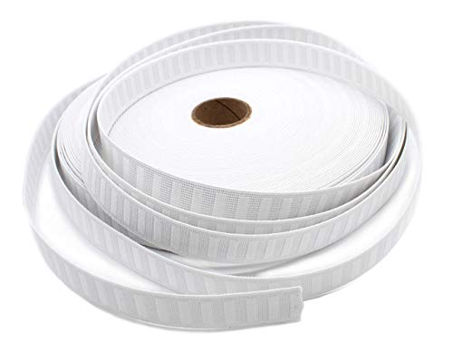 Non-Roll Elastic 1' White-Heavy Duty Ribbed Elastic (36 Yards on a Roll)- Made in USA