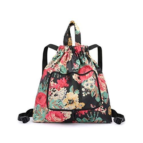 Mochila plegable con cordón de gran capacidad, bolsa de cuerda para gimnasio, bolsa de cincha, bolso de compras para mujeres y niñas. (flor grande en negro)