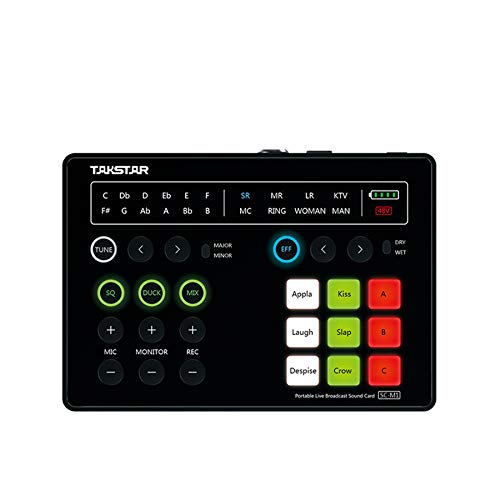 New TAKSTAR Portable sound card, support 48V power supply, sound processor with DSP chip, 9 kinds of sound effects, for K song recording on smartphone/iPad/PC, Live broadcast video mixer SC-M1.
