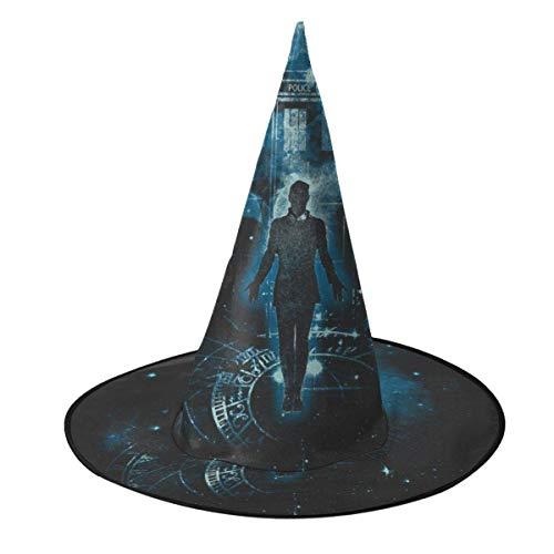 Sombrero de Halloween Viajero en el Tiempo Tardis Doctor Who Sombrero de Bruja Halloween Disfraz Unisex para Vacaciones Halloween Navidad Fiesta de carnavales