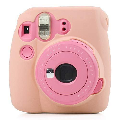 GLAUKS Estuche Protector de Silicona Suave for Fluorescente FUJIFILM Minifalda instax 9/8 + Minifalda/Mini-8 (Rosa) Estuche para la Camara (Color : Pink)