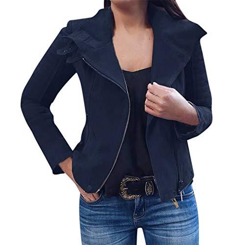 Geili Kurz Jacke Damen Bomberjacke Bikerjacke Casual Pilotenjacke Retro Reißverschluss Mantel Outwear Reverskragen Coole Streetwear...