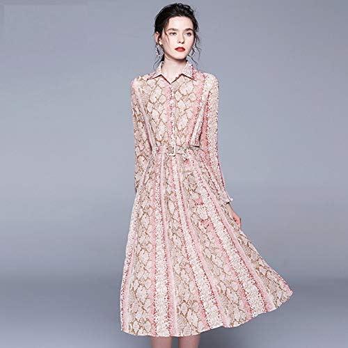 QUNLIANYI Robes Paillettes Robe en Mousseline De Soie Vintage avec Imprimé Floral Et Manches Longues Robe Plissée des Fêtes avec Ceinture