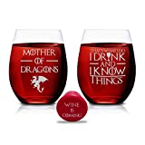 Set di 2 bicchieri da vino 'Mother of Dragons & That's What I Do I Drink And I Know Things – Set di 2 bicchieri senza stelo da 425,2 g, colore: marrone