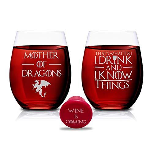 Juego de 2 copas de vino con texto en inglés 'Mother of Dragons & That's What I Do I Drink And I Know Things', sin tallo, 445 ml, color marrón oscuro