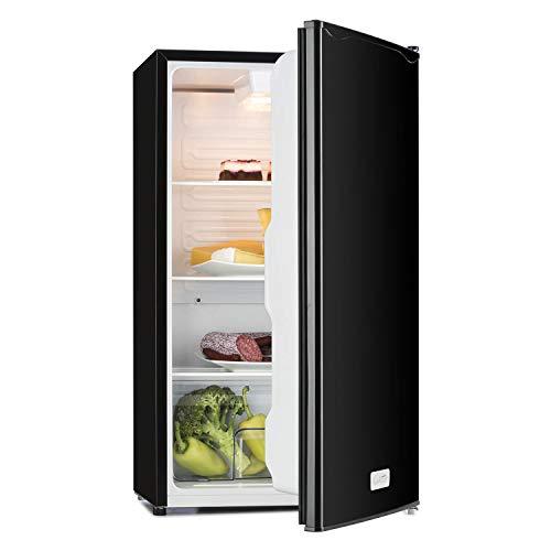 Klarstein Beerkeeper - Standkühlschrank, Kühlschrank, 92 L Fassungsvermögen, 60 Watt Nennleistung, 83cm hoch, 3 Fächer, Gemüsefach, 7-stufiger Thermostat, leise, pianoschwarz