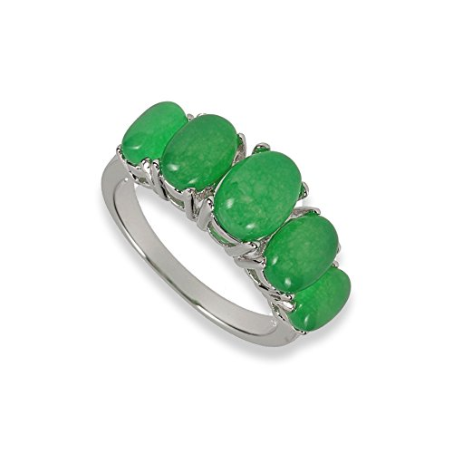 Judith Williams Modeschmuck Ring rhodiniert Chrysopras Imitation (56 (17.8))