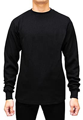 Access Men's Heavyweight Long Sleeve Thermal Crew Neck Top Black 5X