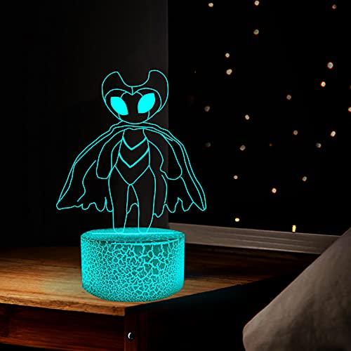 Hollow Knight 3D luz nocturna USB colorido táctil control remoto visión estéreo modelo monstruo lámpara de mesa para regalos de vacaciones o decoraciones del hogar