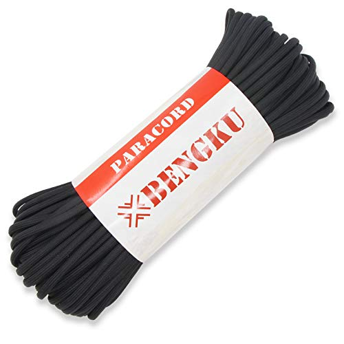 BENGKU Outdoor MilSPEC 550lb Paracord/Parachute CordMIlC5040H100Feet Black 10000