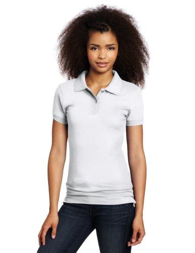 Lee Uniforms Juniors Stretch Pique Polo, White, Medium