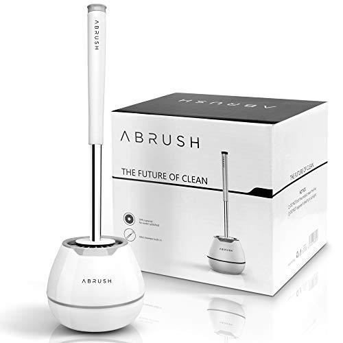 Abrush Das Orginal Toilettenbürste - hochwertige WC Bürste aus Silikon - Premium Klobürste für eine saubere und hygienische Toilette - Toilettenbürstenhalter in weiß/grau