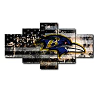ZKPGUA Prints on Canvas Baltimore Ravens Creative 5 Panel Canvas Painting Calligraph Modern Abstract Photo Wall Art Decoration (Size C) No Frame