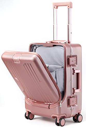 Roam.Cove スーツケース 前開き キャリーケース 機内持ち込み フロントオープン パソコン収納 軽量 静音 TSAロック ビジネス シンプル おしゃれ Sサイズ (細アルミフレーム ピンク)