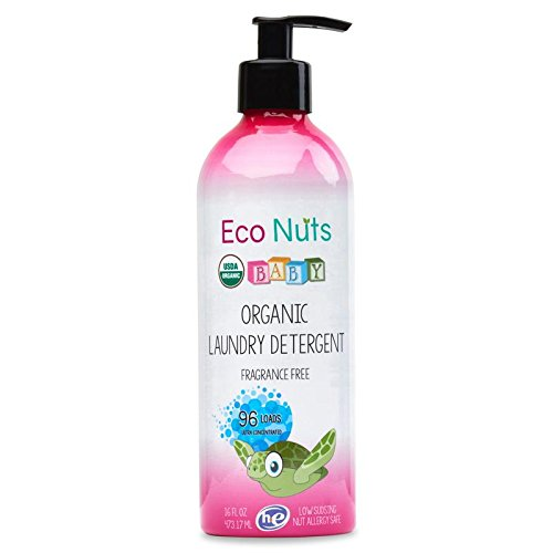 Eco Nuts Organic Baby Liquid Laundry Detergent for Cloth Diapers and Formula Stains, 16 Ounces for 96 Loads