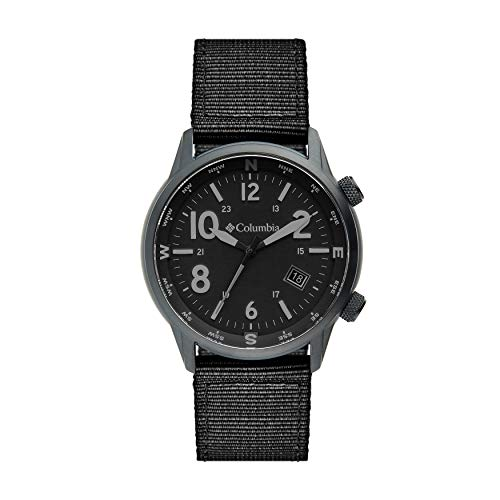 Columbia OUTBACKER Stainless Steel Quartz Watch with Nylon Strap, Black, 11 (Model: CSC01-004)