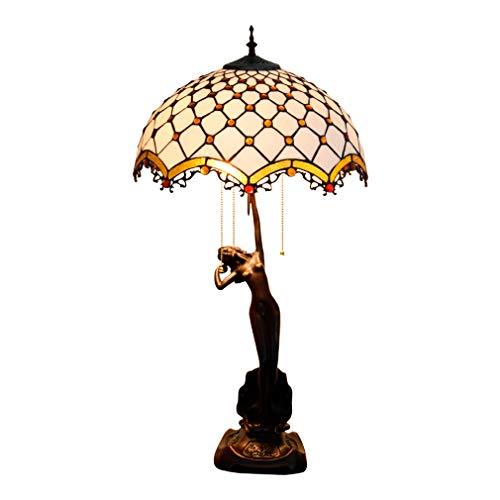 Tiffany-Art bureaulamp 30 inch groot 3-licht wit gekleurd glas kristalkorrel tafellamp schaduw antieke zink onderkant voor salontafel woonkamer slaapkamer