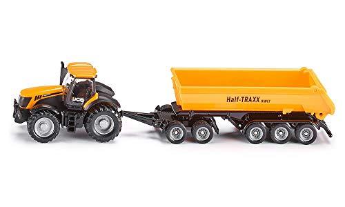 SIKU 1858, JCB Traktor mit Dolly und Kippmulde, 1:87, Metall/Kunststoff, Gelb, Abnehmbarer Muldenkipper