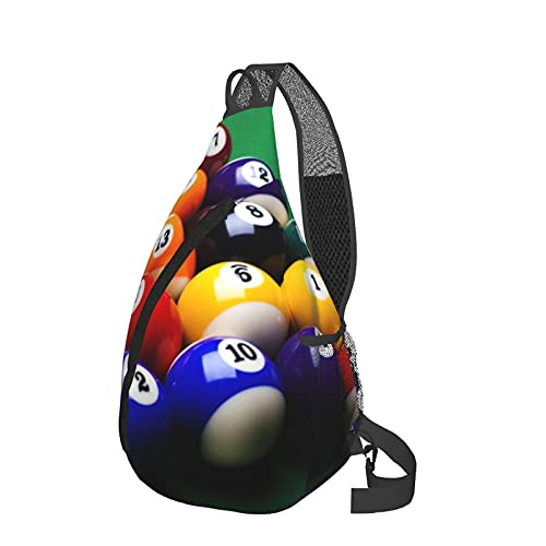 Sling Rucksack Reise Wandern Daypack 3D Grafik gedruckt Crossbody Umhängetasche, Weiß - Billard Pool Bälle Arrangement Snooker Contest Beginning Entertainment Game Black - Größe: Einheitsgröße