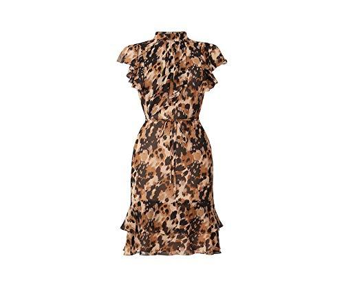 Oasis Skater-Kleid für Damen mit verwischtem Print in Braun - Hoher Kragen - Kurze Engelsärmel - Maschinenwäsche - UK 8