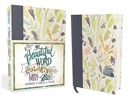 NIV, Beautiful Word Coloring Bible, Large Print, Cloth over Board, Navy: Hundreds of Verses to Color