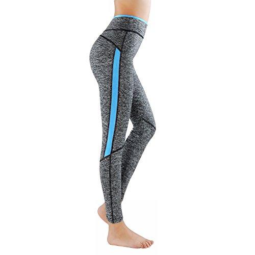 L&K-II Leggings Donne Pantaloni di Corsa con Inserti in Rete Fitness Yoga Pantaloncini Sportivi 4113 Blu L/XL