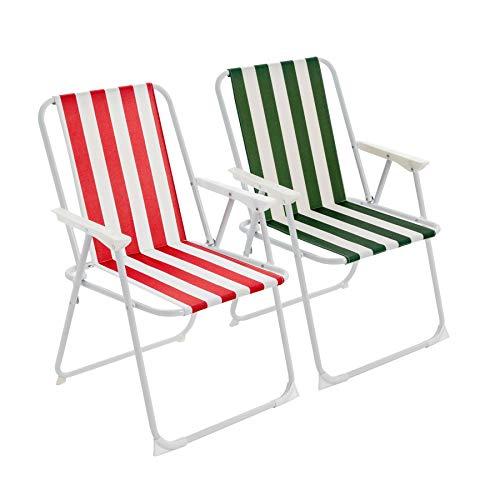 Harbour Housewares Folding Metal Beach/Garden Armchair - Red/Green Stripe - Set of 2
