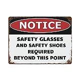 by Unbranded Señal de advertencia para gafas de seguridad y zapatos de seguridad requeridos, señal de parada, 30 x 40 cm, señal de metal para puerta delantera de patio