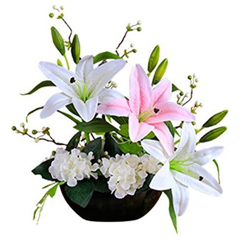 Sarazong Fleur Artificielle Petite fraîche, Ornements de décoration Lily Fleur, Fleur réaliste Real Touch Floral pour Home Decor Faux Fleurs,B