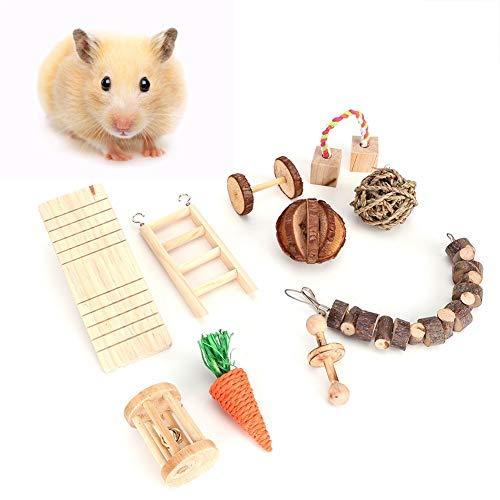 10個セット ハムスターおもちゃ 小動物 シーソー 木製 チンチラ ハムスターおもちゃ ストレス解消 ケージアクセサリー ペット用品 小動物用品 歯磨き 遊び場 噛むおもちゃウサギ、モルモット、チンチラ、ハムスター、スナネズミ、ラット、鳥(10個セット)