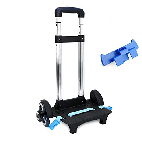 UEK Wheeled Trolley Hand Aluminium Alloy Non-Folding Trolley Cart for Backpack (Blue, 6 Wheels)