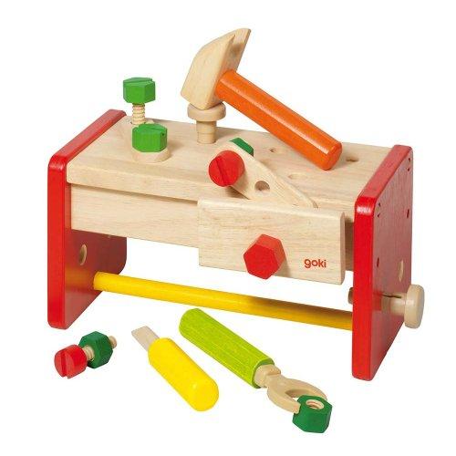 Goki- Puzzles de Madera Banco de Trabajo con Caja para Guardarlo, Multicolor (58871)