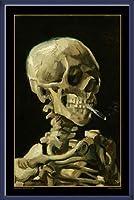 ポスター フィンセント ファン ゴッホ Skull with Burning Cigarette 額装品 ウッドベーシックフレーム(ブルー)