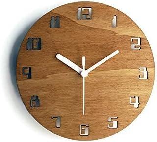28cm Piccolo orologio da parete senza ticchettio con numeri digitali dei vecchi computer colorato come noce chiaro Partico...