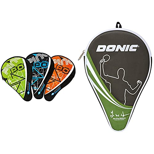 Donic-Schildkröt Funda para Raqueta de Tenis de Mesa Classic, Compartimiento para 3 Pelotas + Funda para Raqueta De Tenis De Mesa Waldner, Compartimiento Extra De Almacenamientopara para 3 Pelotas